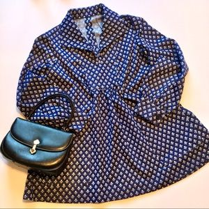 Vintage Blue Patterned 60s Mod Swing Mini Dress